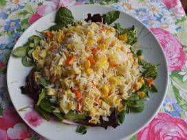 Ensalada arroz fruta verdura 1