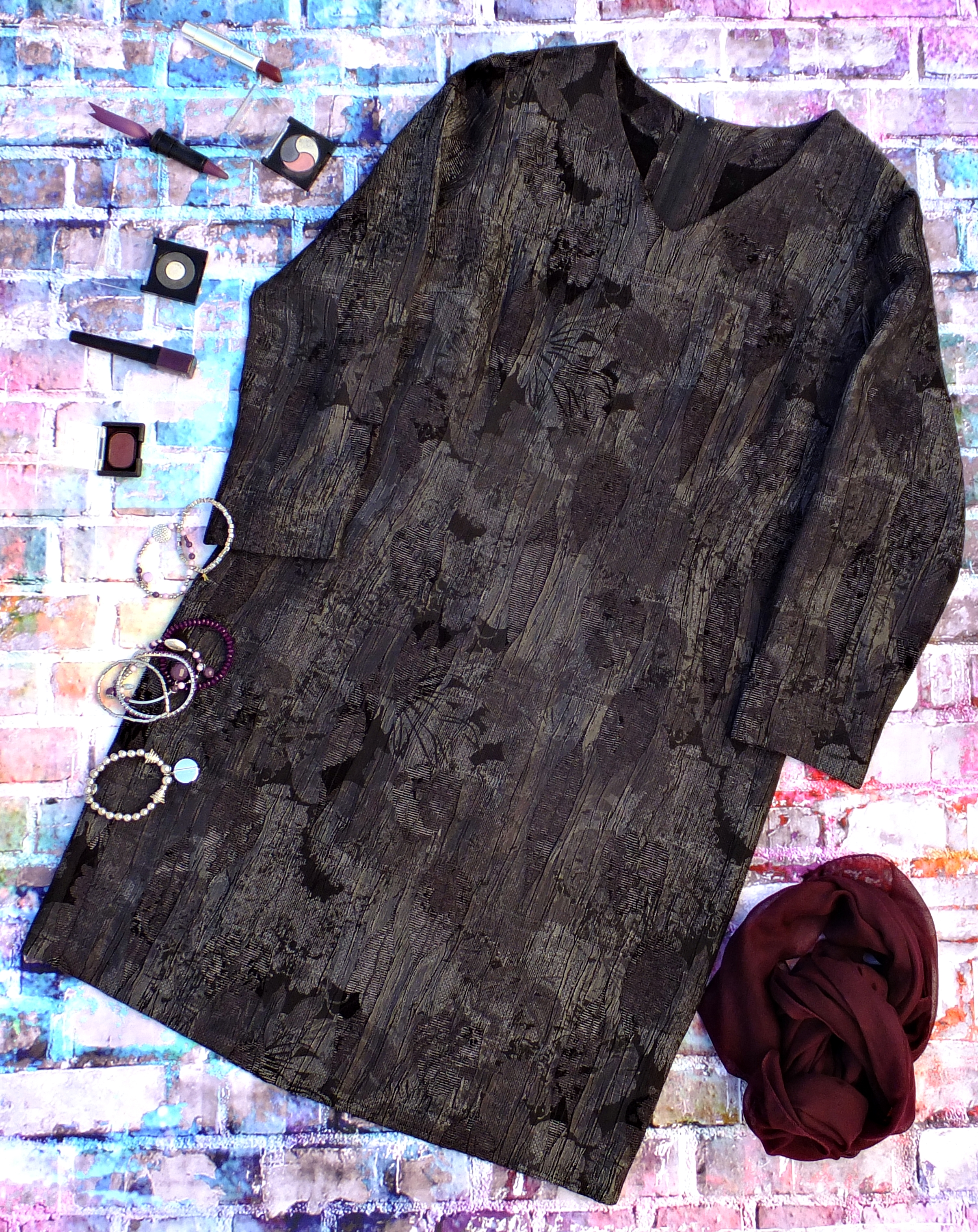 Vestido brocado gris 3
