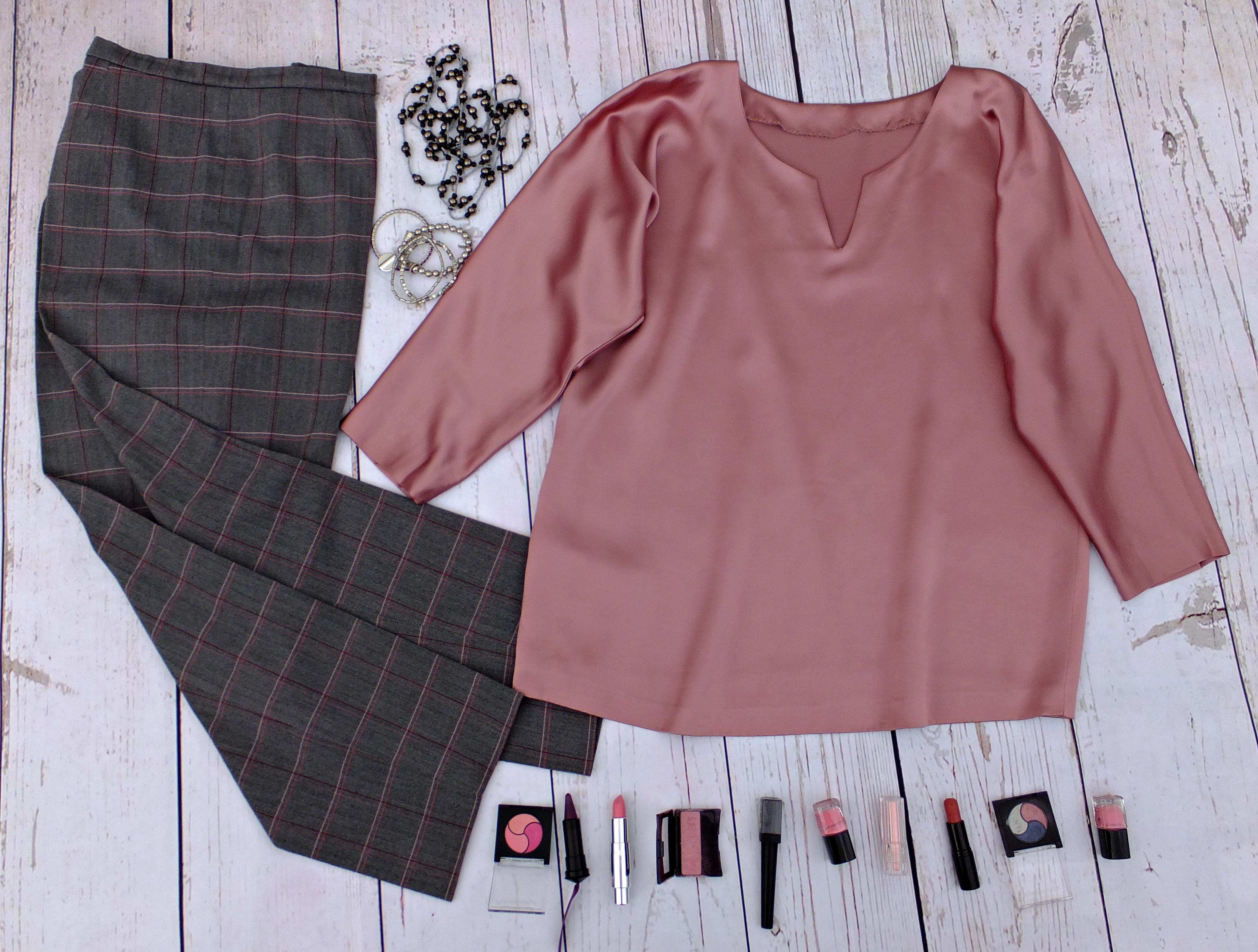 Blusón rosa pantalón cuadros 2