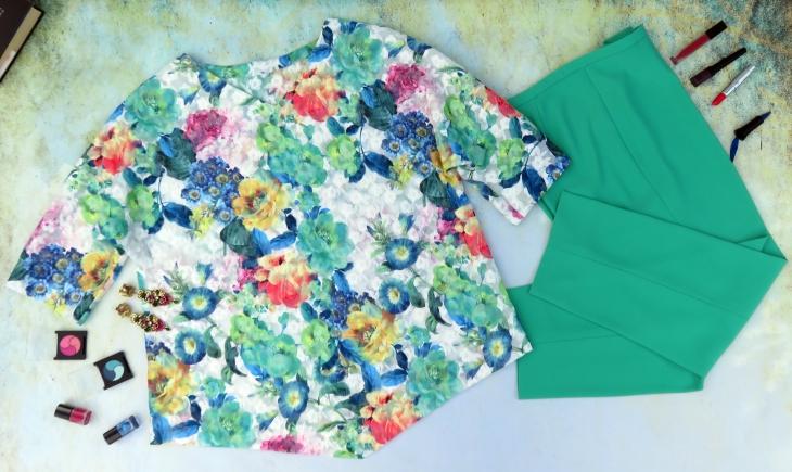Blusón bordado pantalón verde 3