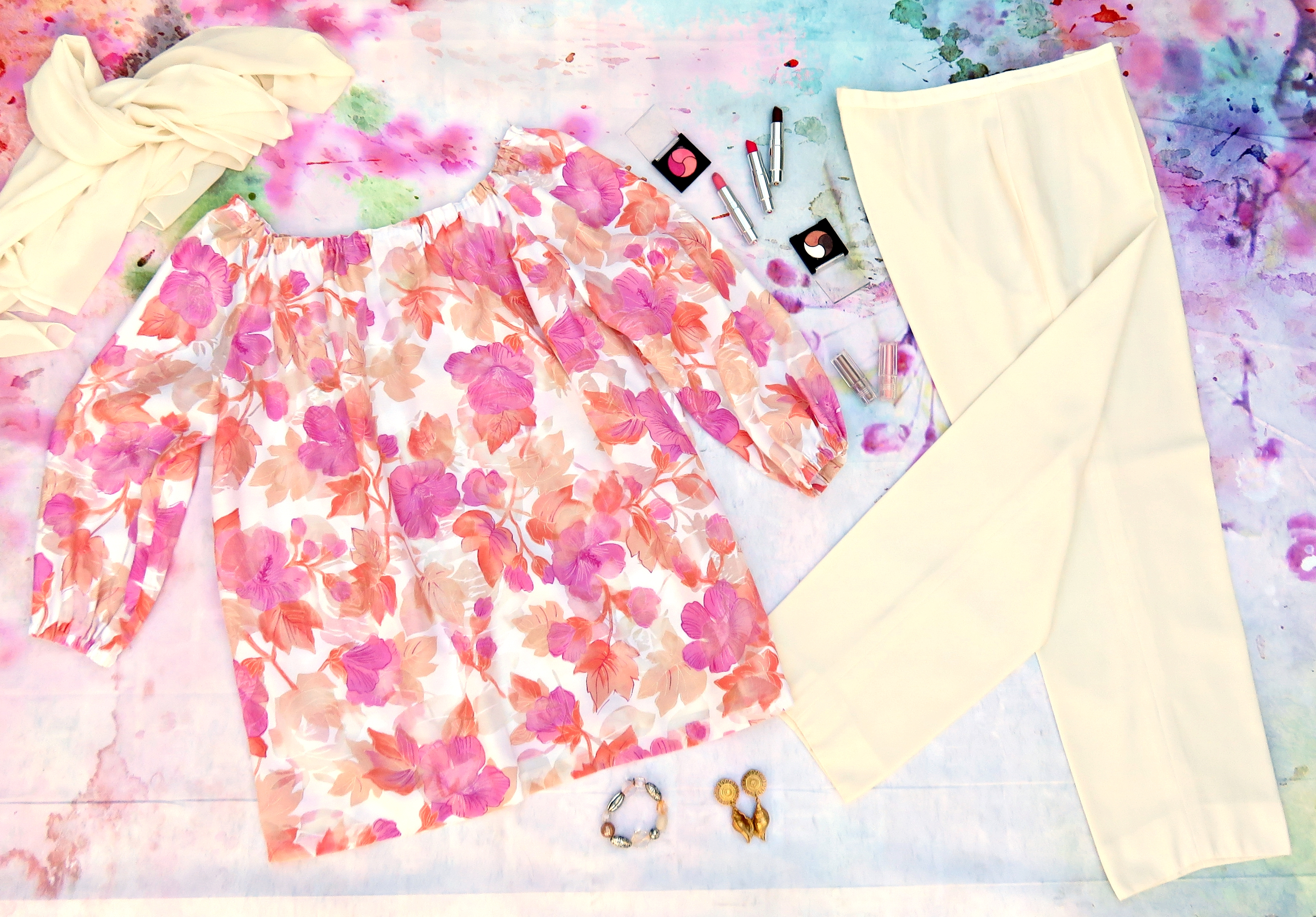 Blusón flores pantalón blanco 3