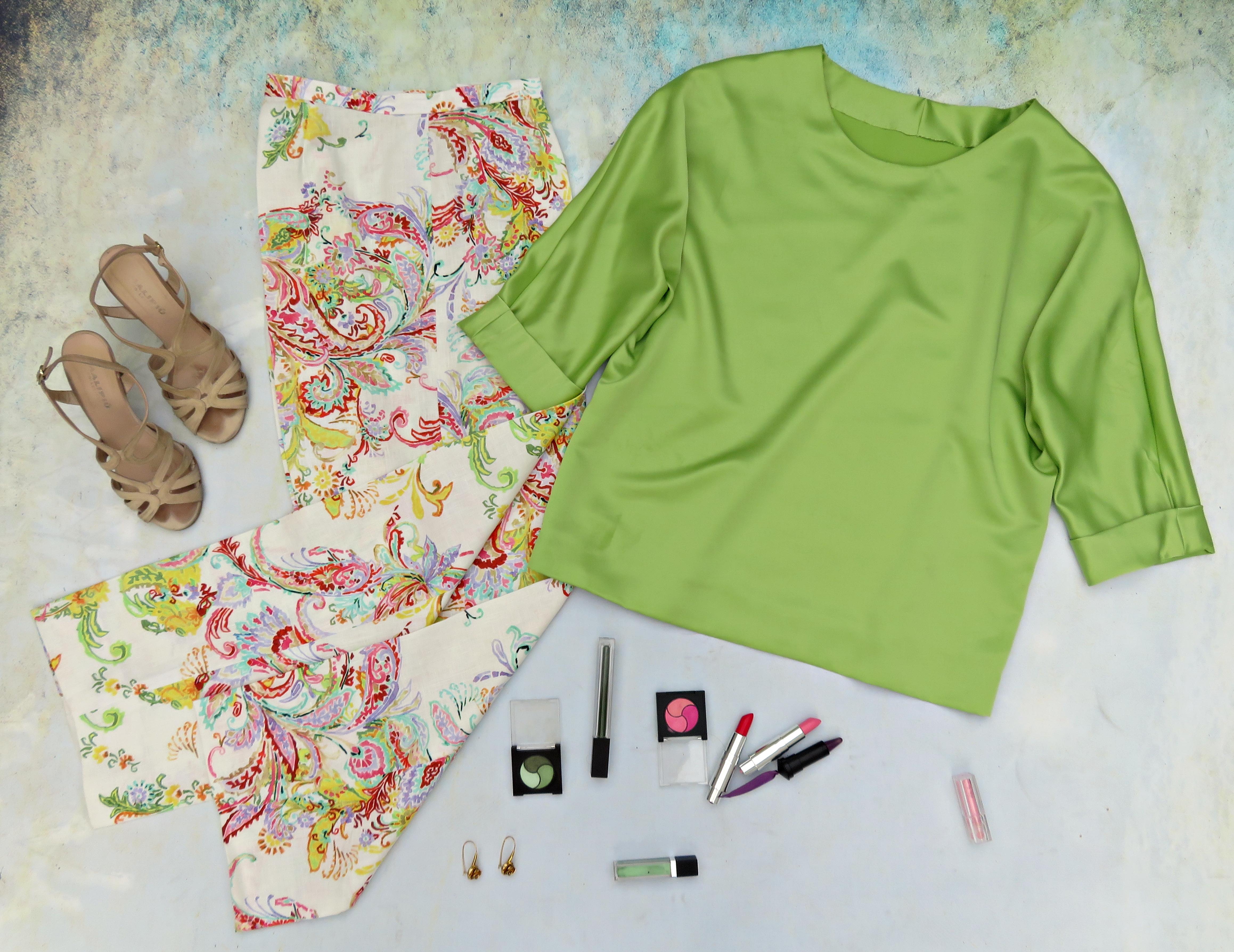 Blusón verde pantalón flores 2