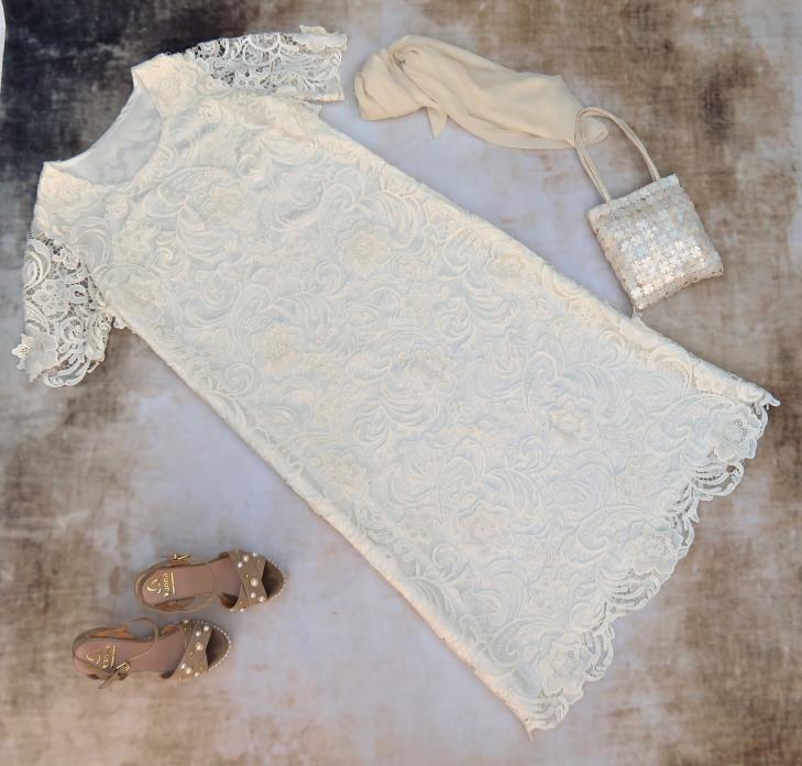Vestido guipur crema 1