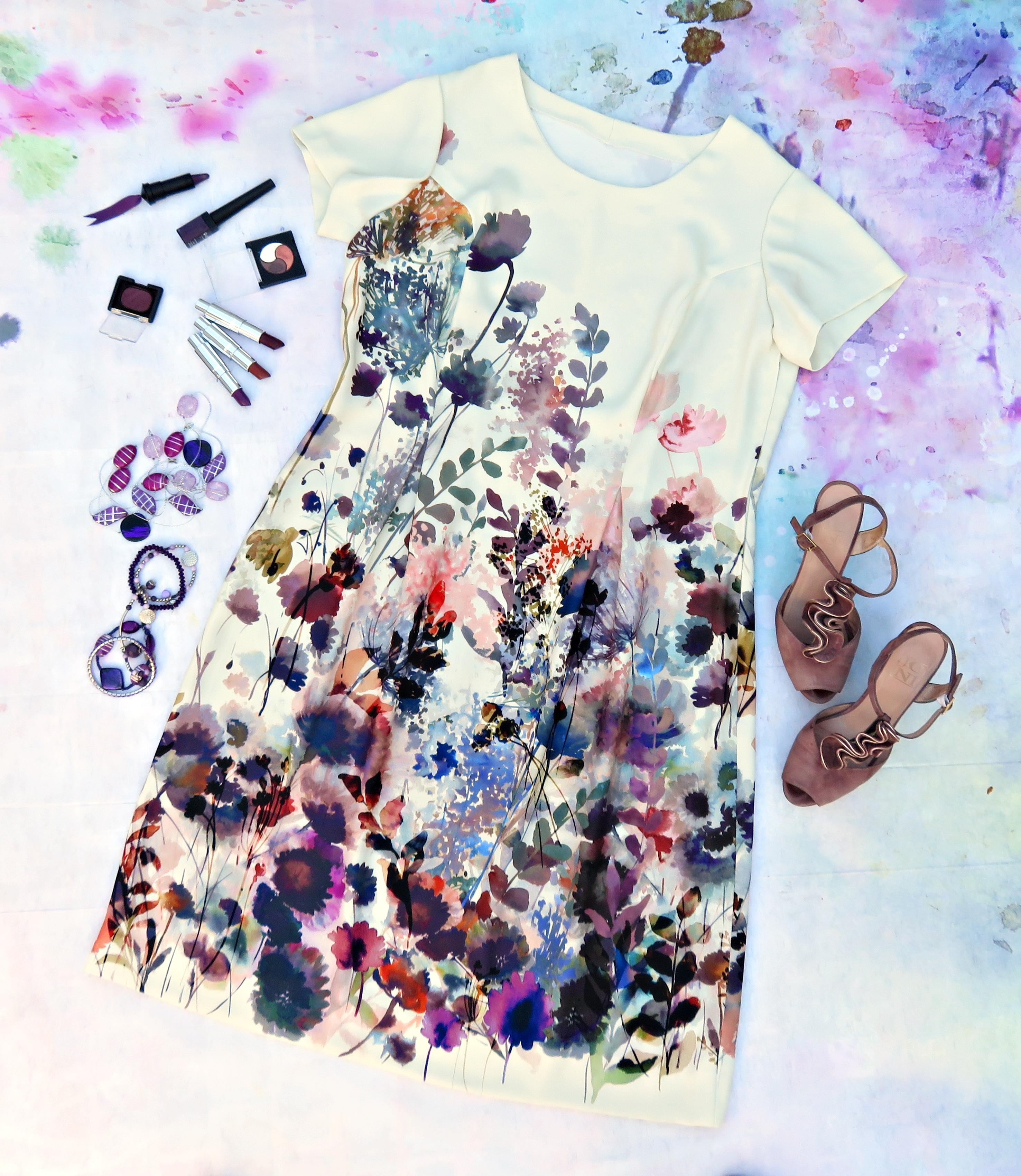 Vestido crema flores 1