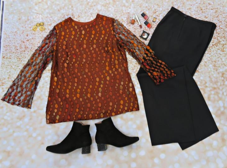 Pantalón negro blusón teja 2
