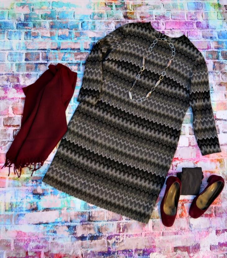 Vestido gris rayas D