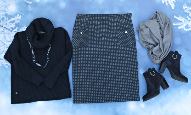 Falda larga azul gris