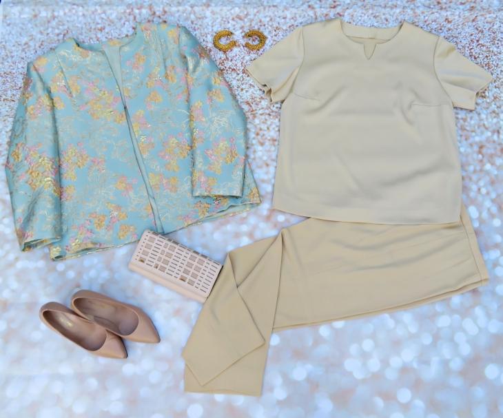 Chaqueta brocado traje beig