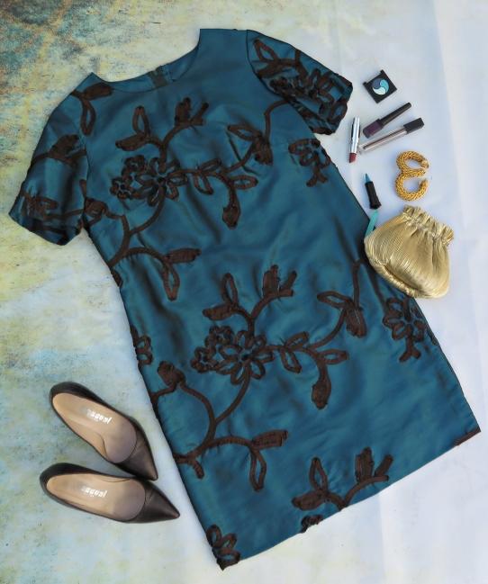 Vestido turquesa y marrón D